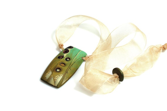 Golden And Aqua Necklace On Organza Ribbon, Forest Inspired