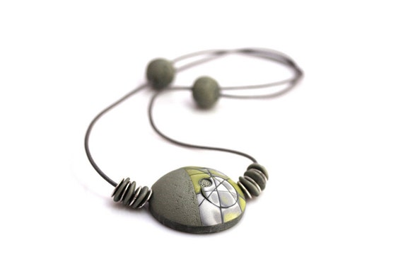 Unique Statement Necklace, Chartreuse And Gray Modern OOAK Necklace