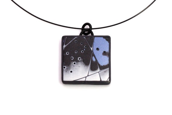 Minimalist Pendant Necklace in Blue And Anthracite Polymer Clay, Wearable Art