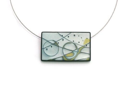 Minimalist Pendant Necklace, Wearable Art, Pastel Colors