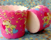 Pink honey bear  baking cups muffin cupcake cases liners paper - 25 pcs