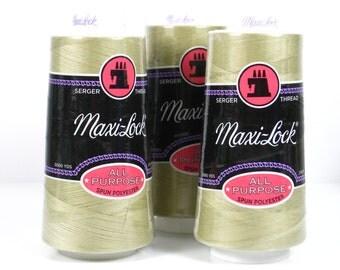 Serger Thread, Maxilock,  Set of 3 / Maxi-Lock SERGER THREAD  3000 Yard  Spools  in Khaki