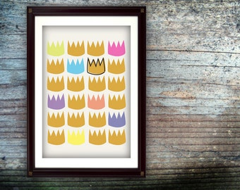 Where The Wild Things Are - Crown Pattern Digital Print