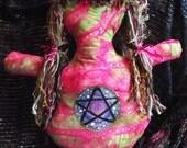 Pink pagan goddess doll with batik fabric and pentagram design