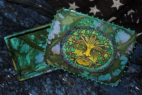 Handmade Green Man Trinket Box with Beads and Batik Fabric