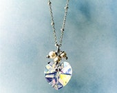 Crystal Heart Necklace with (bright silver chain) with 3 dangling pearls (style 325)
