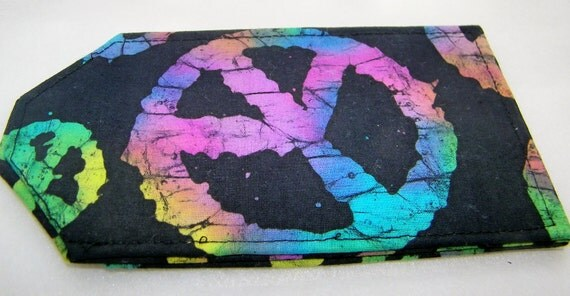 BATIK TIE DYE Peace Sign Luggage Tag doubles as Gift Card Holder Handmade