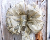 10 inch Old Gold Indoor Outdoor Wired Bow for wreaths, mailbox, tree, wedding, picture frames, Christmas tree, staircase, decoration