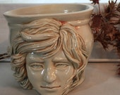Natural, beige, Face Pot, facepot, Sculpture, Ceramic Sculpture, Pot, Crock, Vase, Katrina