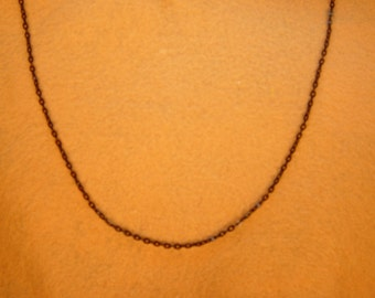 Black Metal Necklace Chain, Medium, 22 to 23 inch Matinee length, w Lobster Clasp.  *1000015
