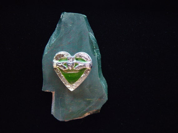 Celtic Claddagh on Heart   Solid Fine Silver Pendant   Fused Emerald Green Glass  *1000034