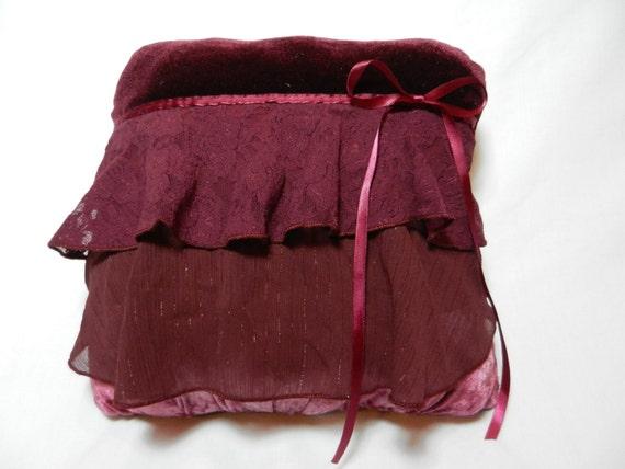 Romantic Burgundy Velvet and Lace Throw Pillow