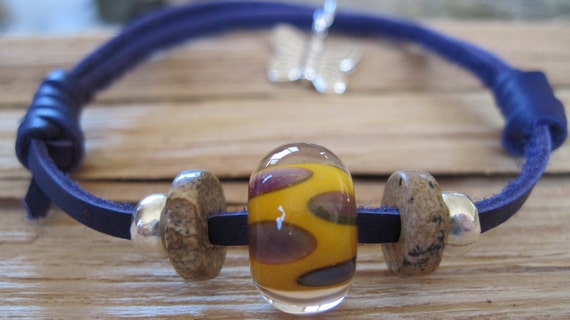 Violet Suede Bracelet with Gold and Violet Lampwork Bead, Sterling Silver Beads, Jasper Beads and Butterfly Charm