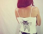 Handmade SMALL Owl Tank Top, Screen Printed Bones, Womens, t-shirt, Eco-Friendly, Up-cycled, Original Artwork