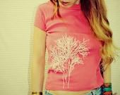 Handmade SMALL Tree of Life T Shirt, Screen Print, Tree of Inspiration, Tree of Life, Hippie, Pink, Women, Original Artwork