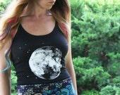 Handmade XLarge Full Moon Tank Top, Screenprint, Hippie, Women, Original Artwork, Zodiac, Stars, Moon, Hippie, Bohemian