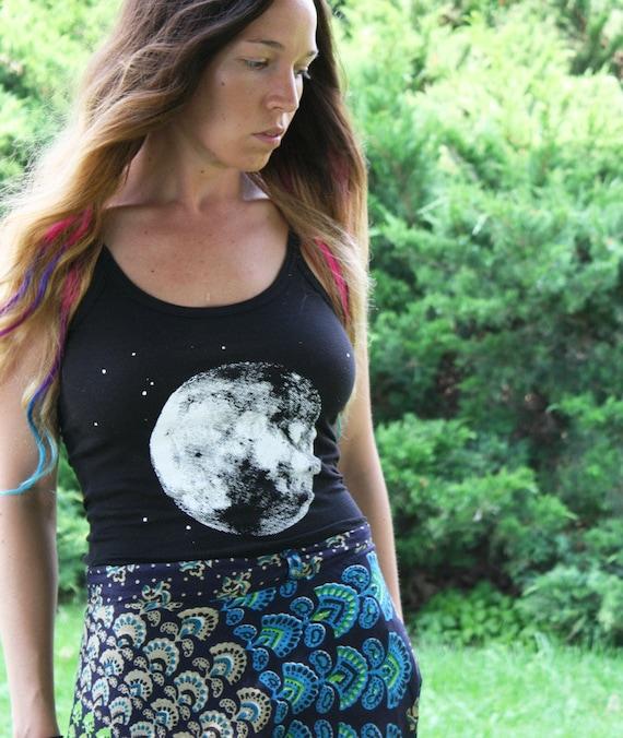 Handmade MEDIUM Full Moon Tank Top, Screenprint, Hippie, Women, Original Artwork, Zodiac, Stars, Moon, Hippie, Bohemian
