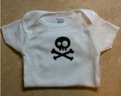 "Never Land Pirate Onesie  ""Cute Skull and bones"""