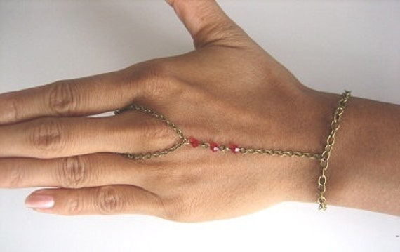 Scarlet Menage a Trois:  Fashionable Arabian and East Indian Inspired Ring Bracelet