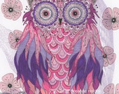 "Whimsical Owl Painting Illustration Archival Print 8 X 10 ""Mayblossom"""