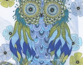 "Whimsical Owl Painting Illustration Archival Print 8 X 10 ""Avery"""