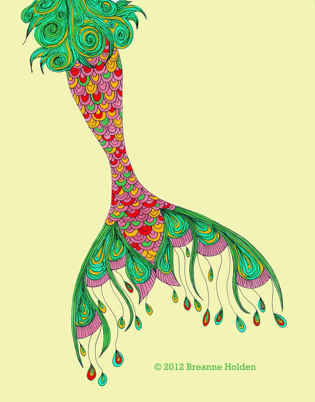 whimsical mermaid tail painting illustration by breanneholden