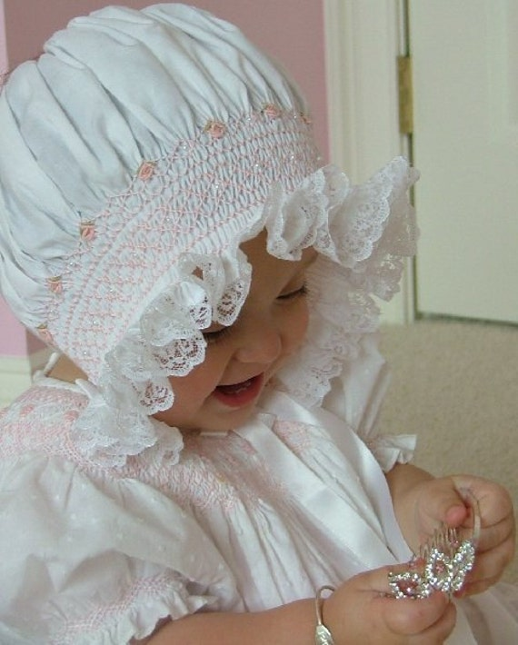 Heirloom Hand Smocked newborn infant baby bonnet Christening Baptism Hat Photo Prop baby shower gift