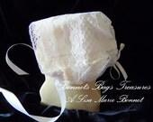 Heirloom Baby Bonnet made with Glorious wide lace Handkerchief Baby Bonnet Magic bonnet Christening bonnet Dedication bonnet