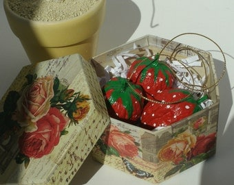 Red Christmas tree ornament 3 Strawberries in decorative box Use on gift packages house warming gift birthday home decor