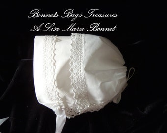 Heirloom Bonnet - Country Manor Lace this WHITE cotton bonnet is made from a handkerchief trimmed with delicate crocheted lace