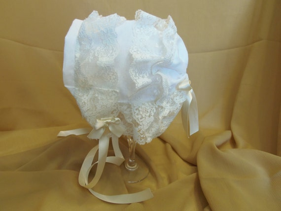 Heirloom Baby Bonnet Victorian Baby Bonnet Double Ivory Lace