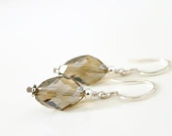 Smokey Glass Earrings - High Quality Glass Dangle Drop Earrings, Oval, Sterling Silver Earrings, Brown, Khaki, Gift Under 20