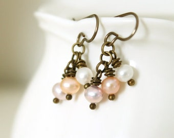 Pearl Earrings - Clearance, Brass Earrings, Freshwater Pearls, Autumn Winter Fashion, Dangle, Dainty, Vintage Inspired, Gift Under 20