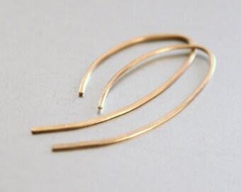 Gold Earrings - Open Hoop Hook Earrings, Modern Earrings, 14k Gold Filled, Contemporary Jewelry, Minimalist Earrings, Under 30