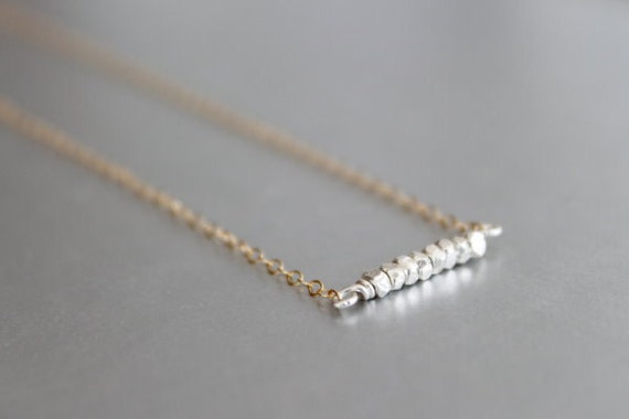 Silver and Gold Necklace - Mixed Metals, 14k Gold Filled & Sterling Silver Necklace, Metalic Diamond Cut Sterling Pendant, Statement, Dainty