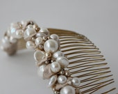 bridal comb with freshwater pearl, and silk shantung (one-of-a-kind)