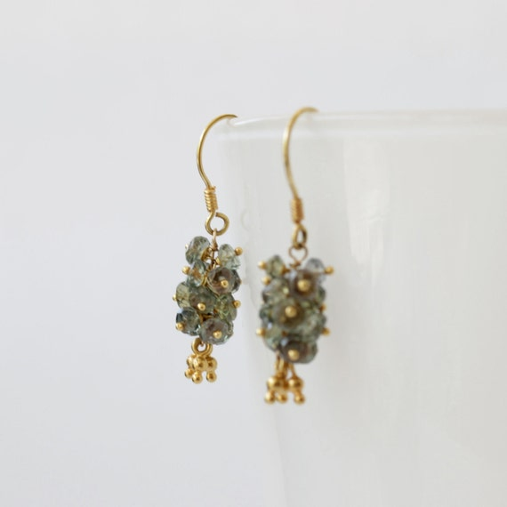 grey sapphire and 18k gold earrings - one of a kind
