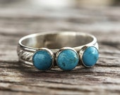 Sterling Silver Ring with Genuine Turquoise