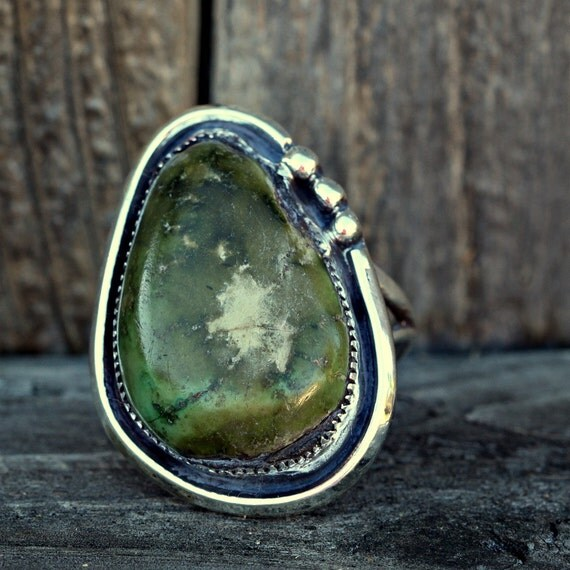 Sterling Silver Ring with Deep GreenTurquoise