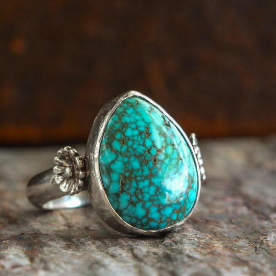 Teardrop Turquoise and Sterling Silver Ring