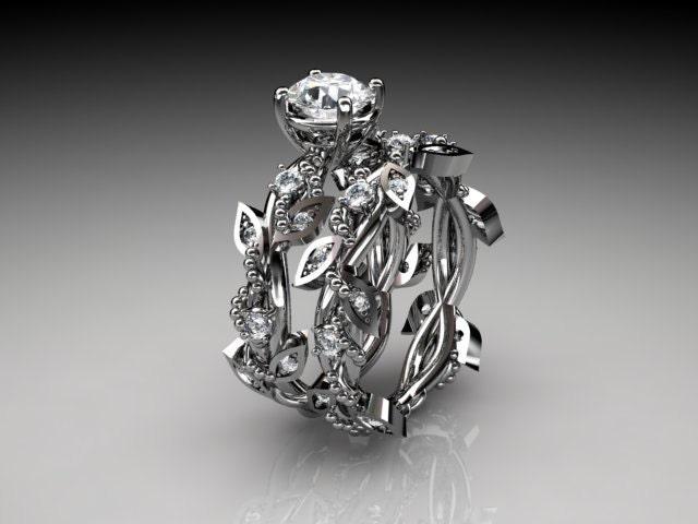 14k White Gold Diamond Leaf And Vine Wedding By Anjaysdesigns