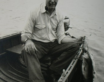 Vintage ORIGINAL Black and White Mid-Century Photo Man Fishing in Wooden Boat