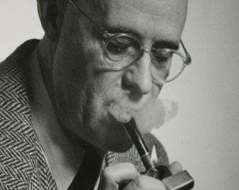 Vintage ORIGINAL Black and White Mid-Century Photo Man Lighting a Pipe