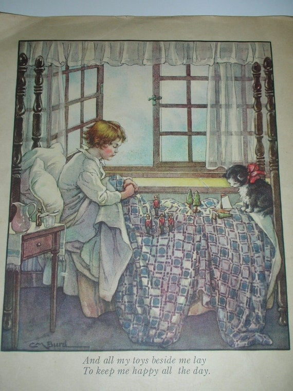 Vintage Clara Burd Illustration of Child in Bed with Soldiers Nursery Children Childs Room Framable Art Nursery Art