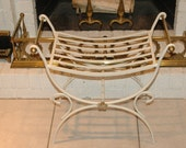 Hollywood Regency Brass & Iron Vanity Bench with Cushion - TAKE 20% OFF Through July 31ST