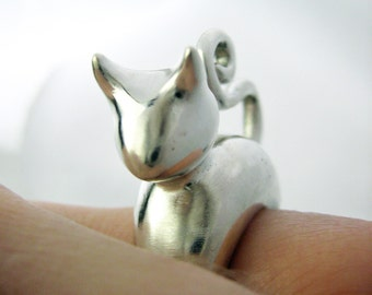 Cute Cat Lover Ring - Smooth Version - Donation to Humane Society- Sterling silver - International Shipping - Rickson Jewellery
