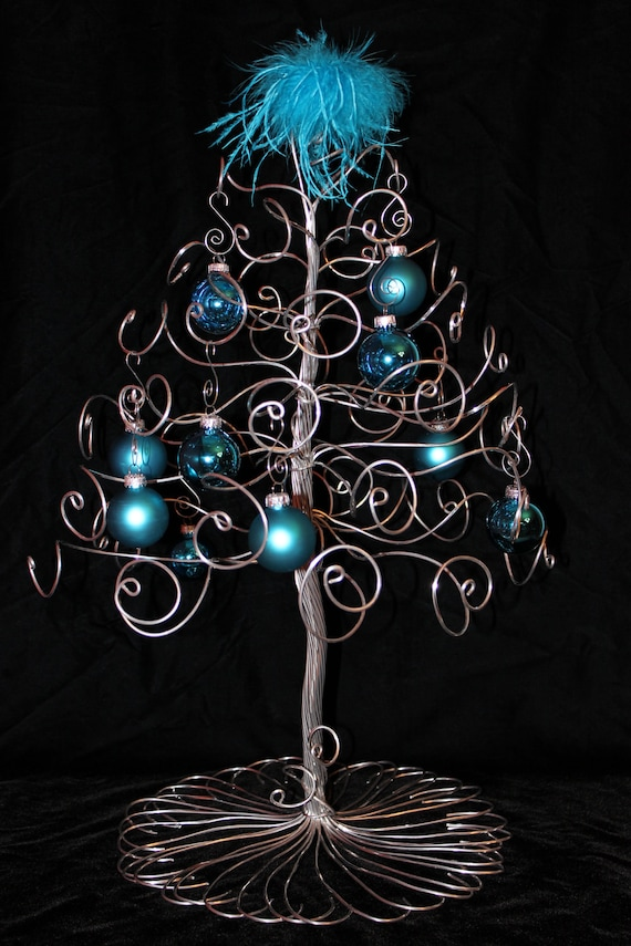 christmas tree ornament display holder silver wire holiday. Black Bedroom Furniture Sets. Home Design Ideas