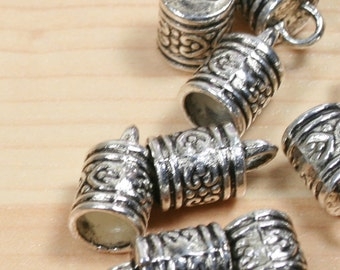"10 Cord end, Larger Sized Zinc  ""pewter,"" antiqued silver-plated, 11x10mm barrel, fits 10mm cord"