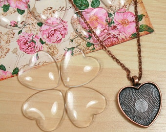20 1 inch Clear Glass Heart Domes High Quality
