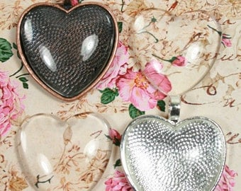 10 SETS Blank 1 inch Heart Pendant Trays and Glass Dome Set -  Heart  Shiny Silver Plated or Antique Bezels Settings 25 mm Photos Charms